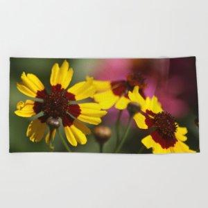 Colorful Daisy Flowers Beach Towel