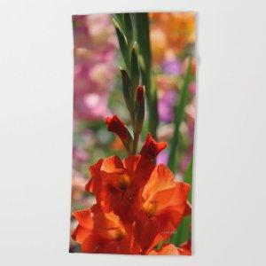 Colorful Orange Glad Flowers Beach Towel