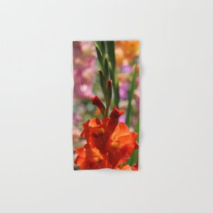 Colorful Orange Glad Flowers Hand & Bath Towel