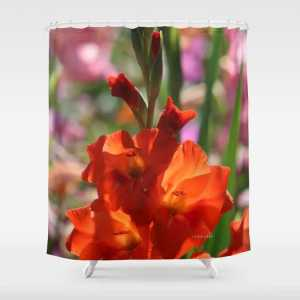 Colorful Orange Glad Flowers Shower Curtain