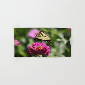 Colorful Swallowtail Butterfly Flying Hand & Bath Towel