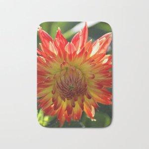 Fire In The Sky dahlia flower 096 Bath Mat