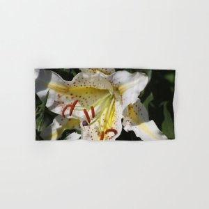 Flashy White Yellow Lily Flower Hand & Bath Towel