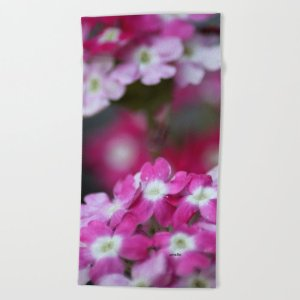 Pink White Verbena Flowers Beach Towel