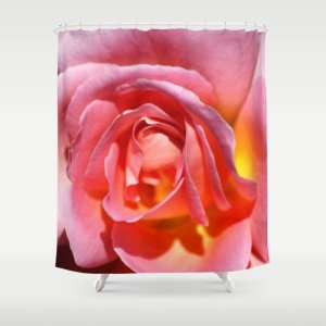 Pink Yellow Rose Flower Shower Curtain