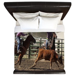 Roping Rodeo Action King Duvet Cover