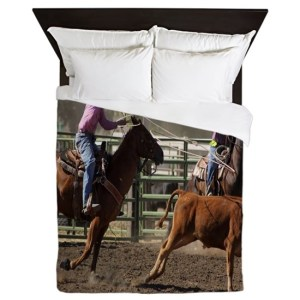Roping Rodeo Action Queen Duvet Cover