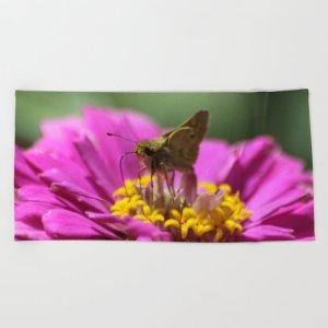 Skipper Butterfly In The Garden Beach Towel