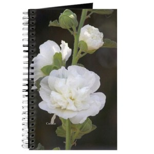White Hollyhock Flowers Journal