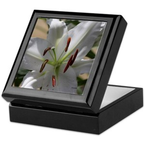 White Lily Flower Keepsake Box