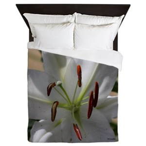 White Lily Flower Queen Duvet Cover