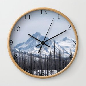 Snow On The Three Sisters Mountains 282 Wall Clock