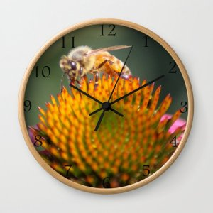 Honeybee On Cone Flower 656 Wall Clock