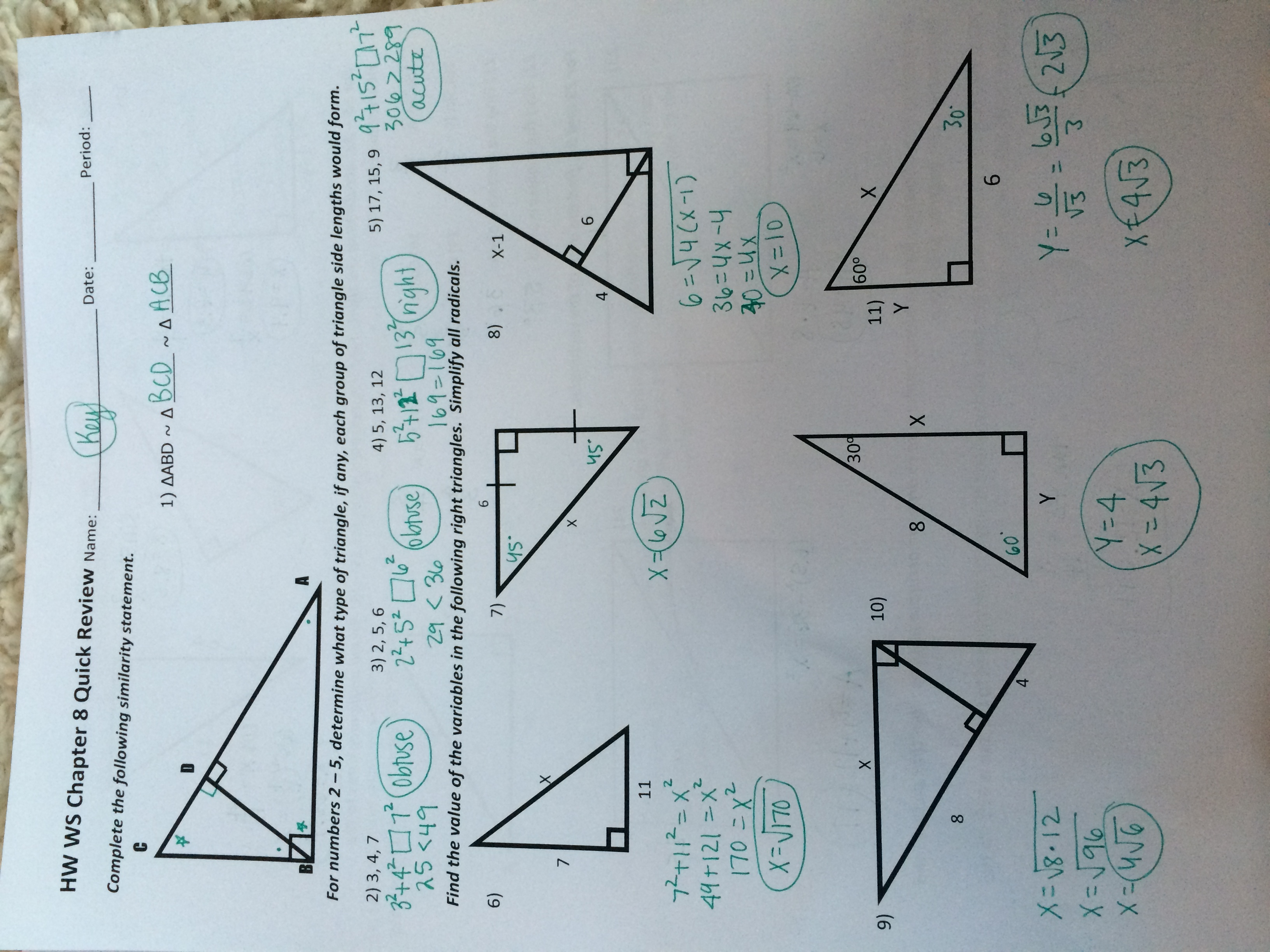 30 58 Special Right Triangles Worksheet
