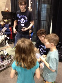 The high schoolers were anxious to talk about their robots