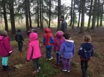 Exploring the forest across from the school.