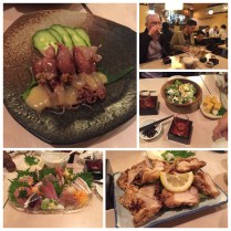 Squid salad, caesar salad, fried chicken, and sashimi
