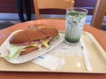 Sandwich and match tea latte