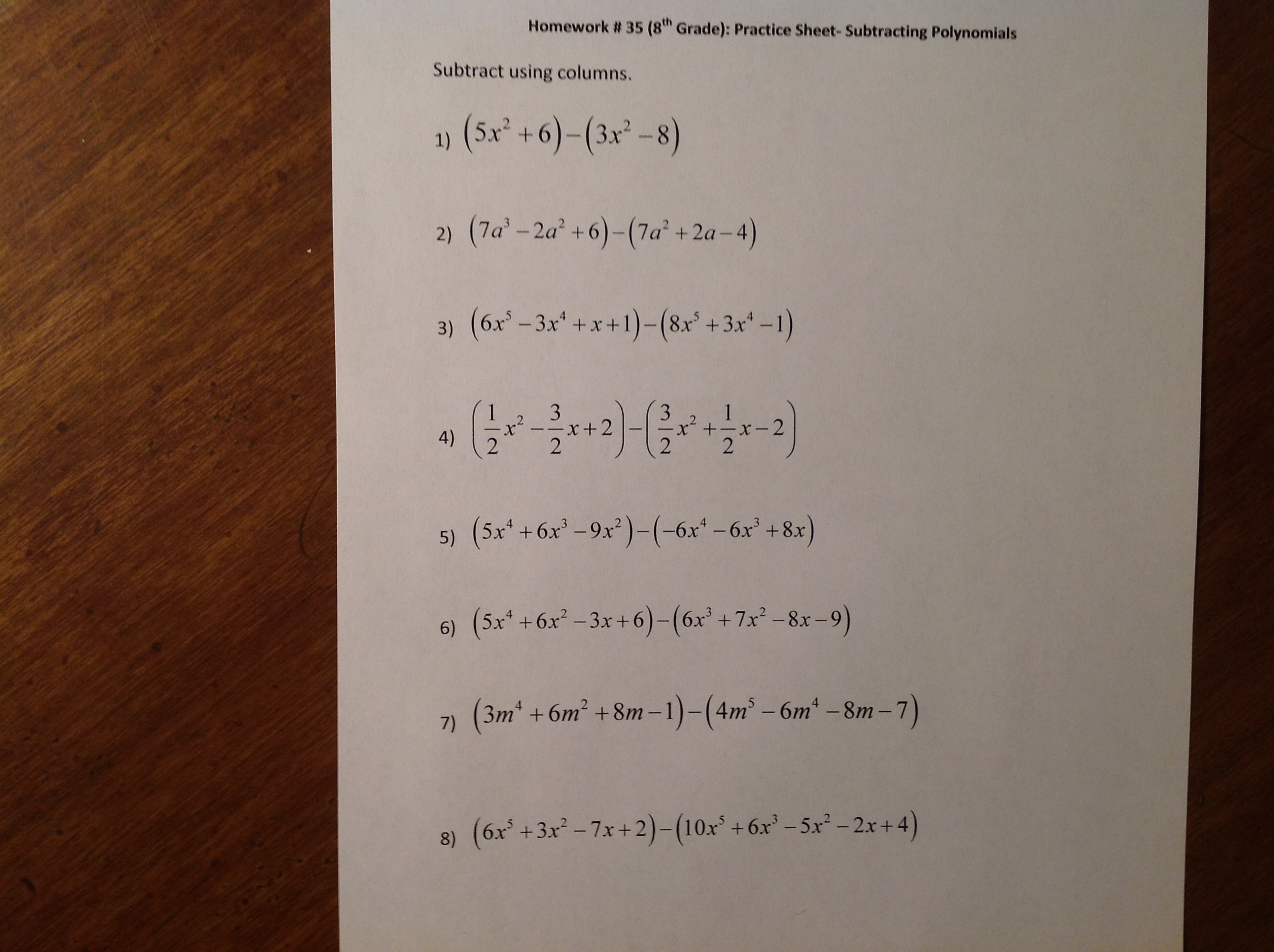 8 5 Adding And Subtracting Polynomials Worksheet Answers