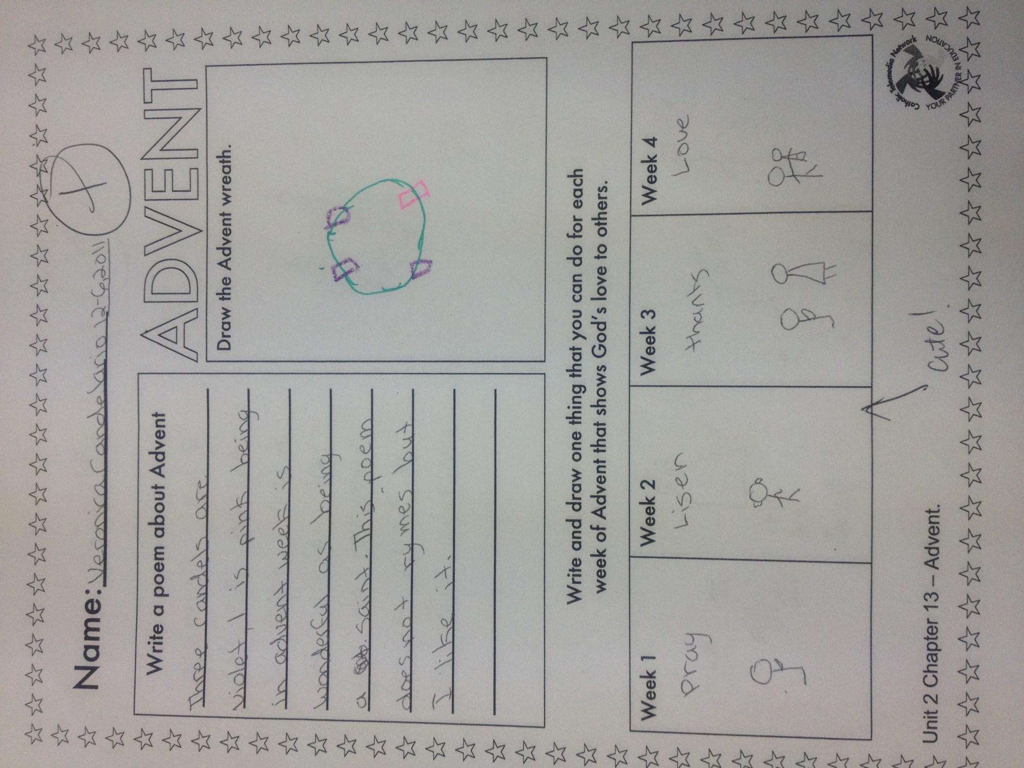 hight resolution of advent worksheet   Mrs Sosa's Class