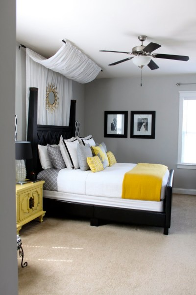 yellow and grey master bedroom DIY Canopy: Master Bedroom | The New Mrs. Stott