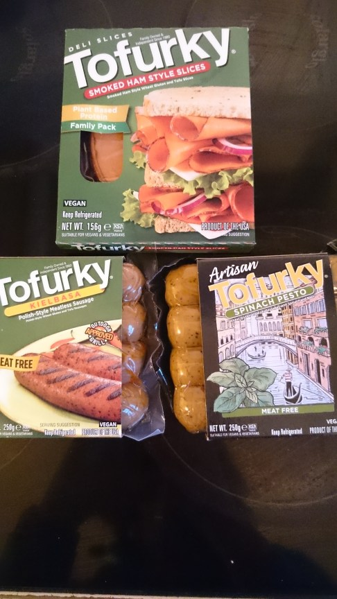 Discovery of the day! Tofurky, where have you been all my life? I got two kinds of sausages, and some smoked ham style sandwich slices. Highly recommended if you can get your hands on some.