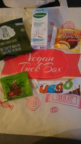 A goody bag from Vegan Tuck Box.