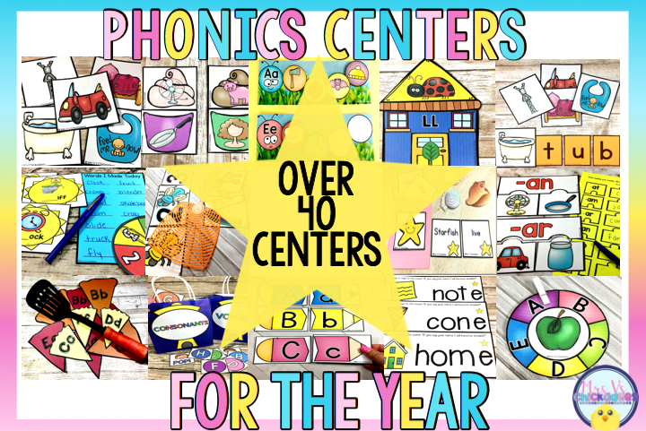 Engaging and hands on centers that cover a years worth of kindergarten phonics lessons. Some skills include letter sounds, CVC words, digraphs, vowels, rhymes, letter ID and more!