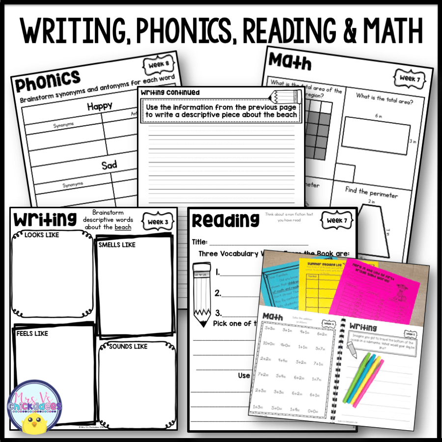 Third Grade Summer Packet (3rd Grade Entering 4th) - Mrs V's Chickadees [ 900 x 900 Pixel ]