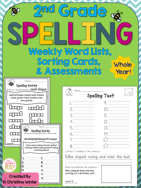 2nd grade spelling word activities and assessments