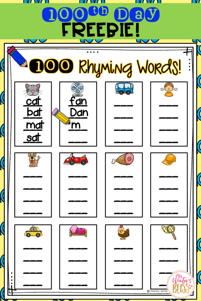 100th day of school free activities