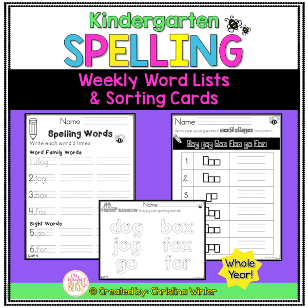 Kindergarten spelling word list activities