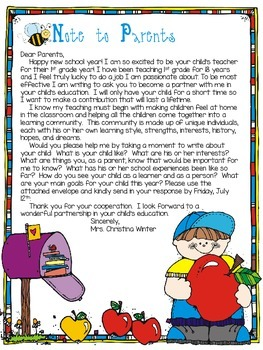 Letter To Parents From Teacher Beginning Of The Year.Parent Information Letter Editable