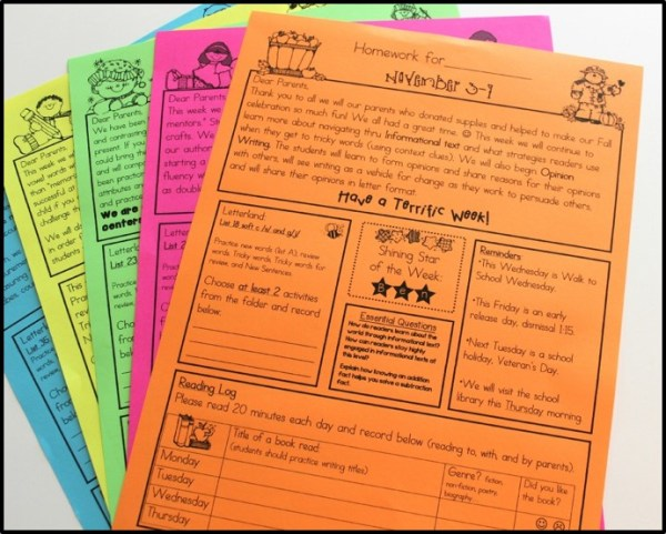 homework folders and newsletters