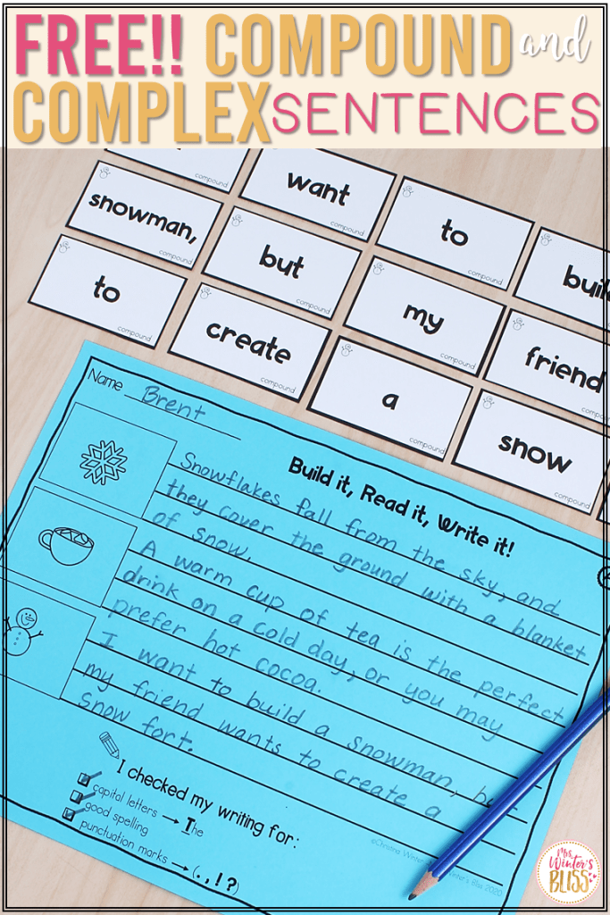 free compound complex sentence building activities