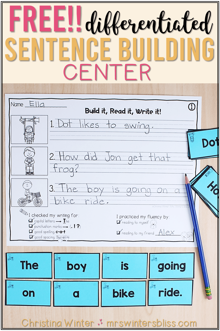 Sentence Building: A Differentiated Literacy Center - Mrs. Winter's Bliss