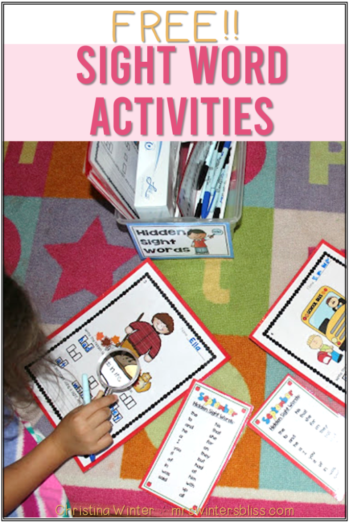 free sight word activities