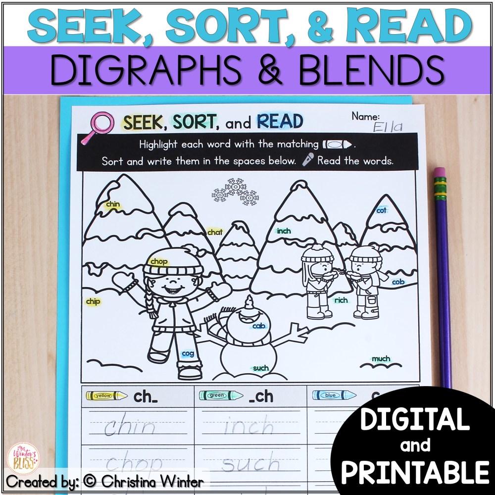 medium resolution of Blends \u0026 Digraphs - Printable and Digital PRELOADED Seesaw™ \u0026 Google  Classroom™ - Mrs. Winter's Bliss