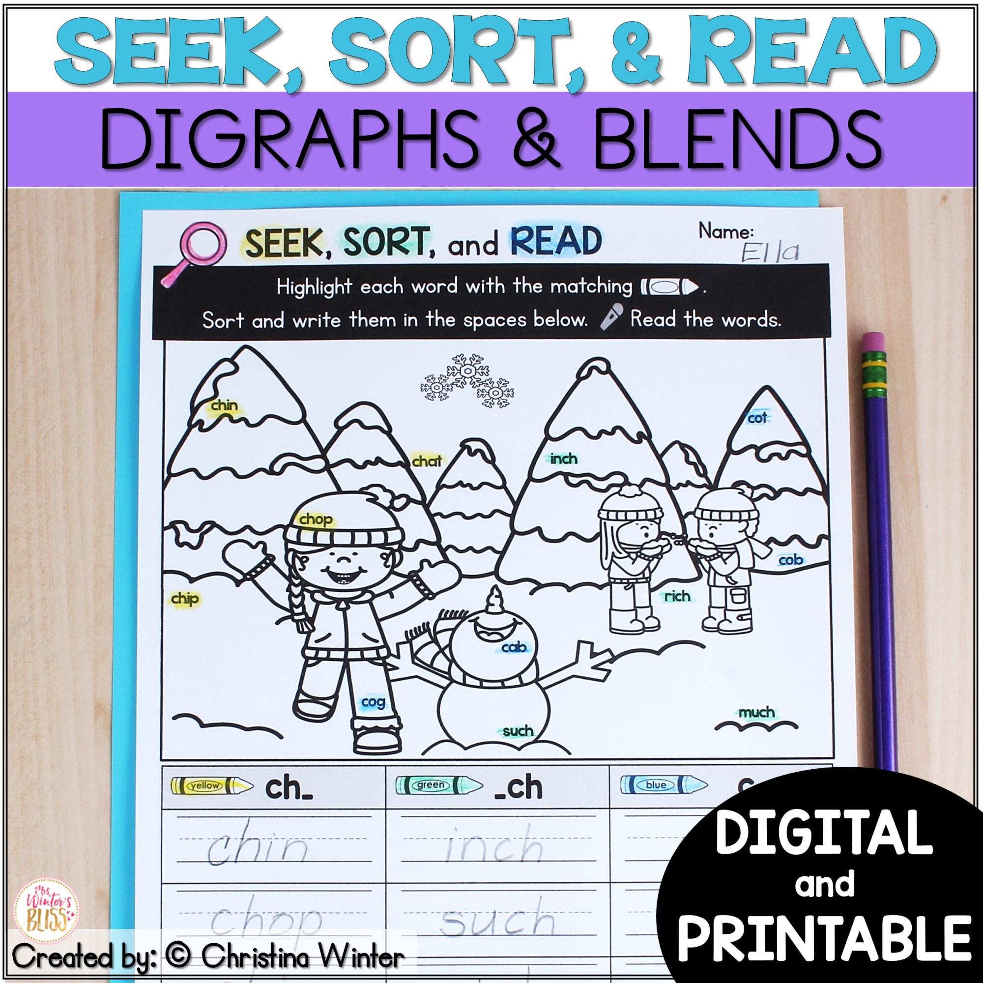 hight resolution of Blends \u0026 Digraphs - Printable and Digital PRELOADED Seesaw™ \u0026 Google  Classroom™ - Mrs. Winter's Bliss