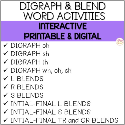 small resolution of Blends \u0026 Digraphs - Printable and Digital PRELOADED Seesaw™ \u0026 Google  Classroom™ - Mrs. Winter's Bliss