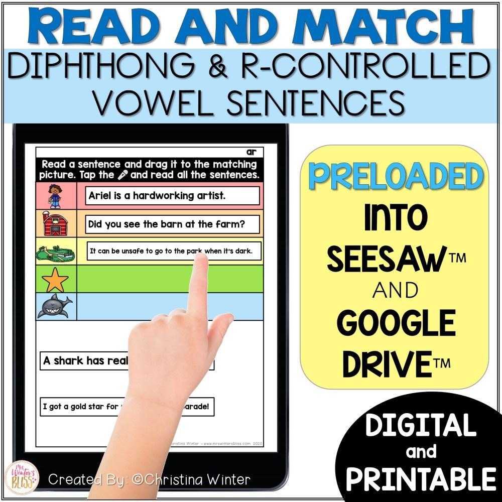 medium resolution of Digital \u0026 Printable Phonics - Diphthong \u0026 R-Controlled Vowel Sentences -  Mrs. Winter's Bliss
