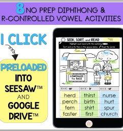 R-Controlled Vowels and Diphthong - Printable \u0026 Digital Phonics Activities  - Mrs. Winter's Bliss [ 2400 x 2400 Pixel ]