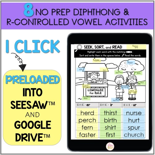 small resolution of R-Controlled Vowels and Diphthong - Printable \u0026 Digital Phonics Activities  - Mrs. Winter's Bliss