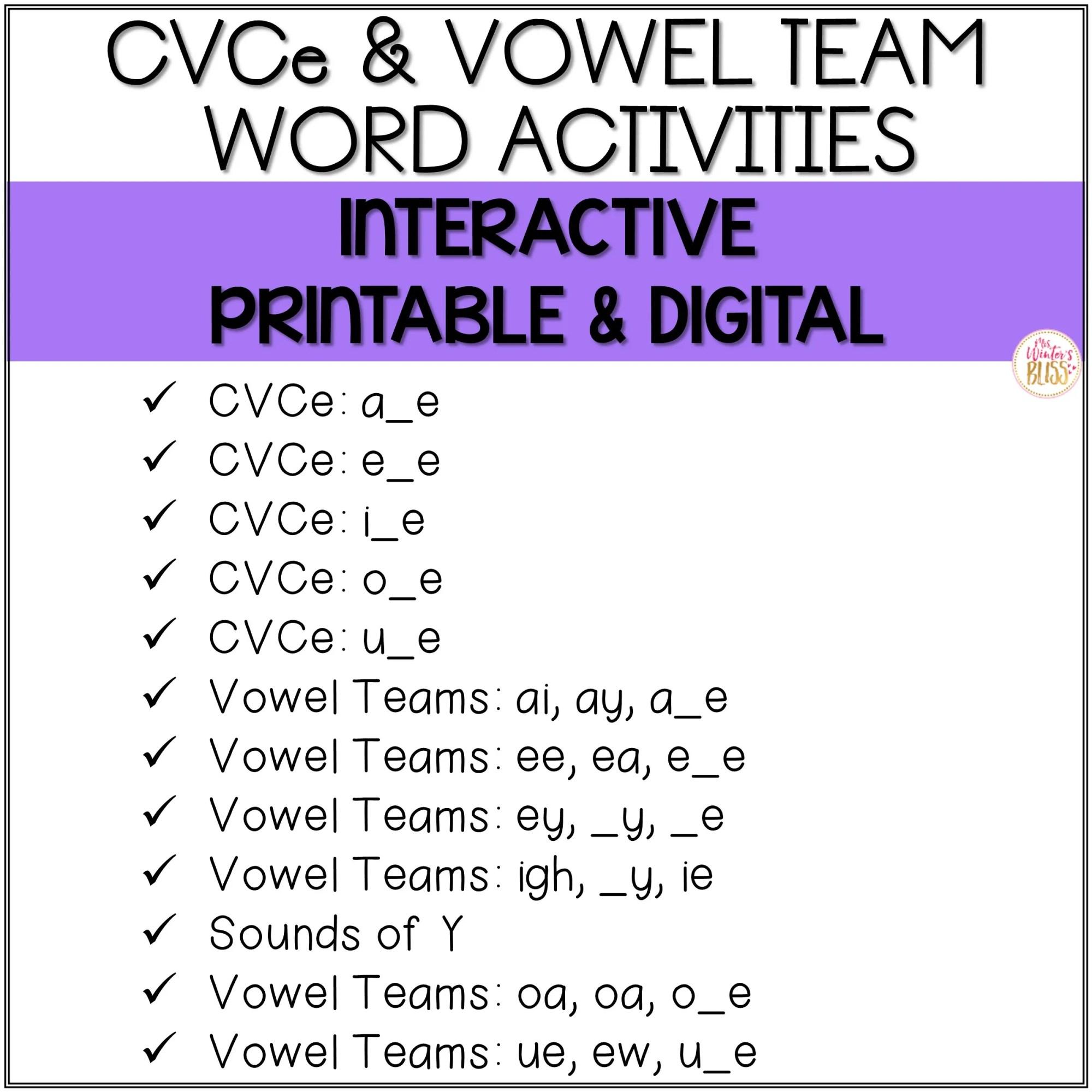 hight resolution of Long Vowel Phonics - Printable \u0026 Digital PRELOADED Seesaw™ \u0026 Google  Classroom™ - Mrs. Winter's Bliss