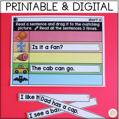 small resolution of Digital \u0026 Printable Phonics - Short Vowel CVC Sentences for Distance  Learning - Mrs. Winter's Bliss
