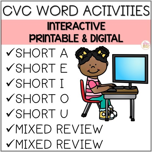 small resolution of Digital \u0026 Printable Phonics - Short Vowel CVC Sentences for Distance  Learning - Mrs. Winter's Bliss