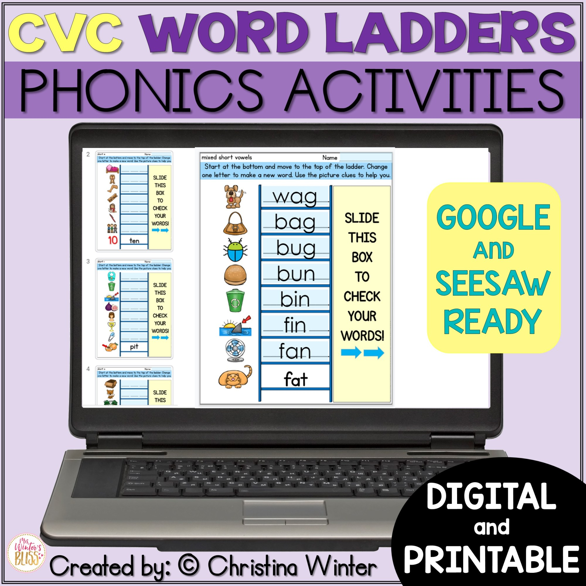 hight resolution of CVC Word Ladders - Printable and Digital Phonics Activities - distance  learning - Mrs. Winter's Bliss