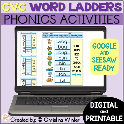 small resolution of CVC Word Ladders - Printable and Digital Phonics Activities - distance  learning - Mrs. Winter's Bliss