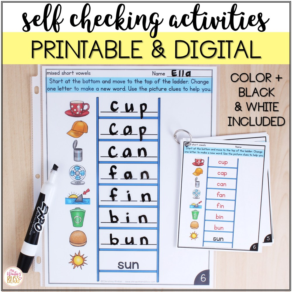 medium resolution of CVC Word Ladders - Printable and Digital Phonics Activities - distance  learning - Mrs. Winter's Bliss