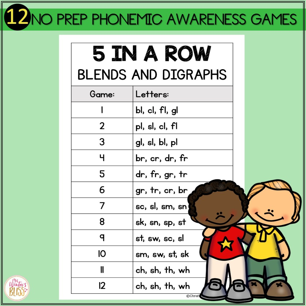 medium resolution of Phonemic Awareness Activities - Blends and Digraphs Worksheet Games - Mrs.  Winter's Bliss